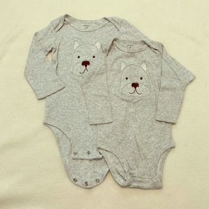EUC Lot of 2 Puppy Long Sleeve Onesies